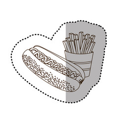 Figure hot dog and fries french icon vector