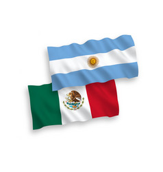 Flags mexico and argentina on a white vector