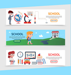 flat education horizontal banners vector image