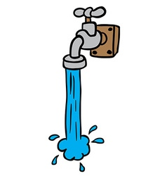 Freehand drawn cartoon running faucet vector