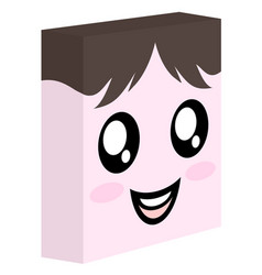 funny cube face vector image
