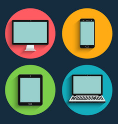 gadget flat icons mobile devices vector image