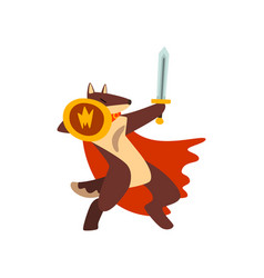 gladiator dog in red cape fighting with sword and vector image