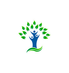 green tree people environment organic logo vector image