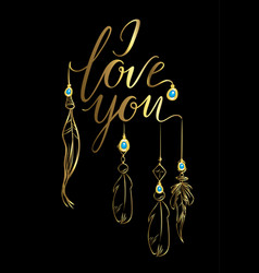 Greeting card luxury golden i love you vector