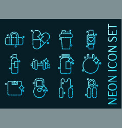 gym set icons blue glowing neon style vector image