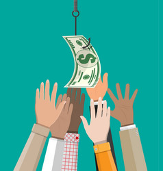 hands trying to get dollar on fishing hook vector image