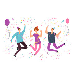 Happy jumping people with falling confetti vector