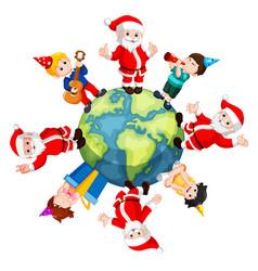 happy santa claus and kids vector image