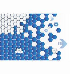 hexagons and cogwheels background vector image