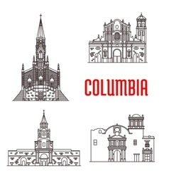 Icons of Columbian famous buildings vector