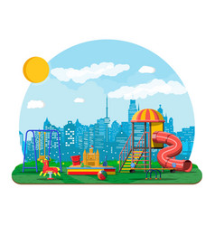 kids playground kindergarten panorama vector image