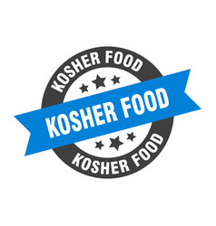 Kosher food sign kosher food round ribbon sticker vector