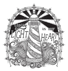 Lighthouse with typographic elements vector
