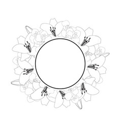 Lily and iris flower banner wreath outline vector