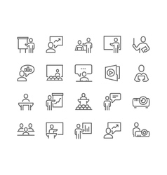 Line Business Presentation Icons vector