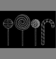 lollipops hand drawn sketch on black background vector image