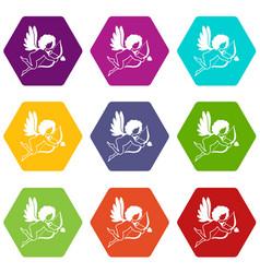 love cupid icon set color hexahedron vector image