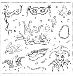 Mardi Gras traditional symbols collection vector