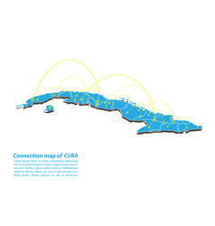 Modern of cuba map connections network design vector
