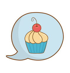 muffin into speech bubble vector image