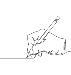 One continuous line drawing of hand drawing a line vector