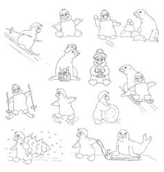 Penguins - christmas set vector
