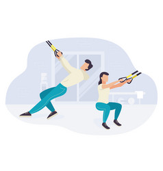 people working out on trx fitness training vector image