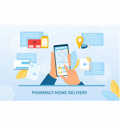 Pharmacy home delivery app and order vector