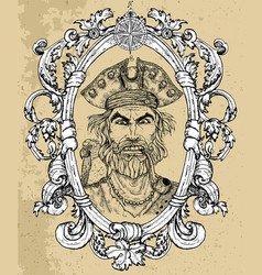 pirate captain portrait in frame 5 vector image