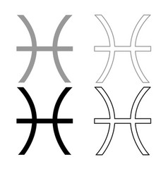 pisces symbol zodiac icon outline set grey black vector image