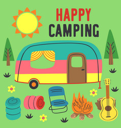 Poster happy camping with a trailer vector