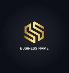 S sign polygon gold logo vector
