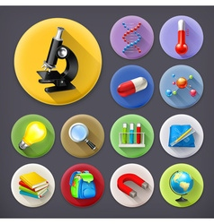 Science and education long shadow icon set vector