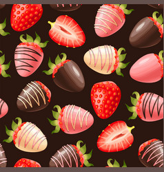 Seamless pattern with chocolate and berries vector