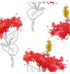 Seamless pattern with flowers of hibiscus vector
