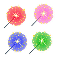set colored burning sparklers isolated on white vector image