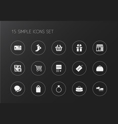 set of 15 editable shopping icons includes vector image