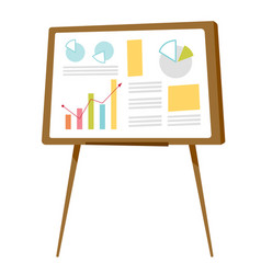 Set of graphs on the whiteboard cartoon vector