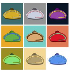 set of icons in flat design golf beret vector image