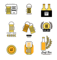 set of labels filled with beer mugs bottles of vector image