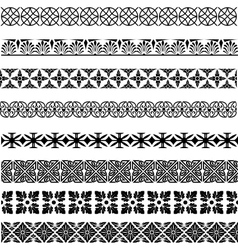 Set of seamless vintage borders in different vector image