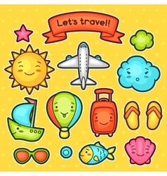 Set of travel kawaii doodles with different facial vector