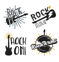 set rock themed logos icons badges labels vector image