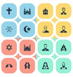 Set simple faith icons vector