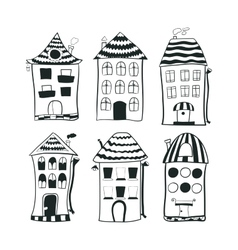 Set sketch black and white outline houses in vector image
