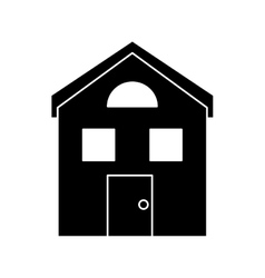 Silhouette house structure window style vector