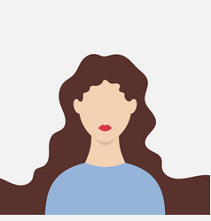 silhouette woman with long hair and red lips vector image