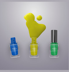 Spilled some nail polishes on light background vector