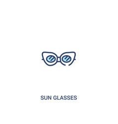 Sun glasses concept 2 colored icon simple line vector